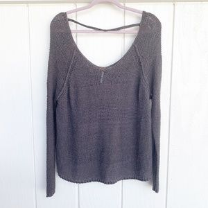 FREE PEOPLE Gray Cable Knit Sweater L